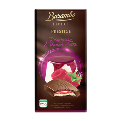 TABLETA CHOCOLATE BARAMBO  CON MOUSSE DE PANNA COTTA Y JALEA DE FRAMBUESA X 125 GR