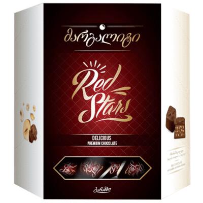 ESTUCHE CHOCOLATE BARAMBO RED STARS X 229 GR CHOCOLATE NEGRO CON AVELLANA EN TROZOS Y PRALINE
