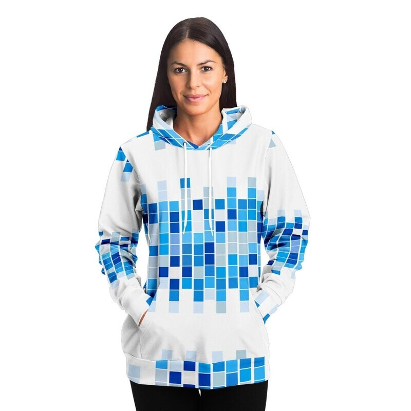Womens Hoodies, Blue And White Mosaic Squares Style Hooded Shirt