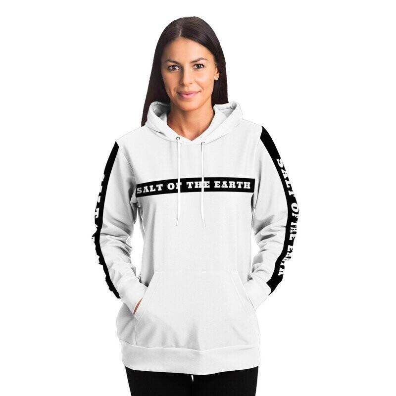 Womens Hoodies, Salt Of The Earth White And Black Hooded Sweatshirt