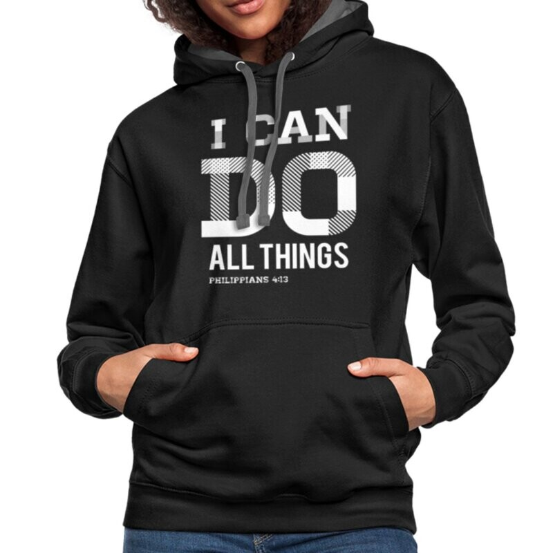 Womens Hoodies, I Can Do All Things Philippians 4:14 Graphic Text Contrast Hooded Shirt