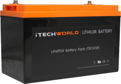 iTECH120X 12V 120Ah Lithium Ion Battery LiFePO4 Deep Cycle Camping RV Solar Click n Collect