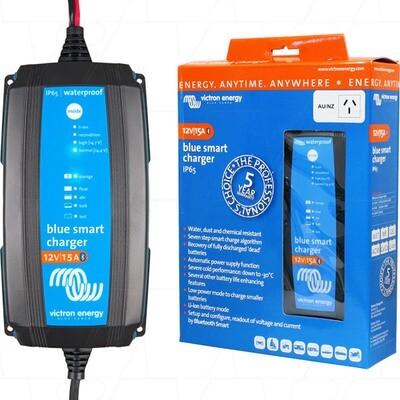 Victron Energy Blue Smart IP65 SLA/LiFePO4 Charger 12V 15A + Alligator Clips & M8 Eyelets BPC121531014R