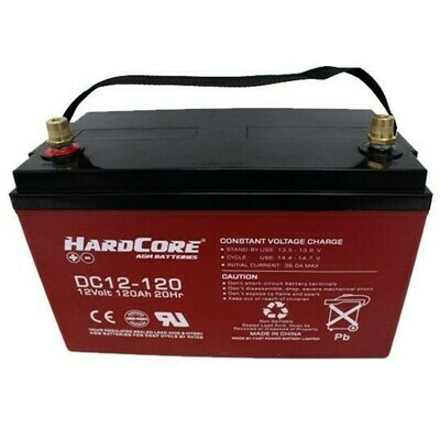 HardCore 120AH 12V Deep Cycle AGM Battery DC12-120 Click N Collect Only