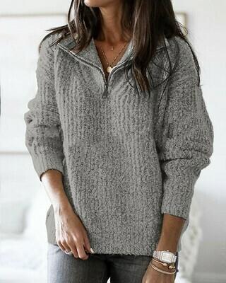 Zip Neck Long Sleeve Sweater