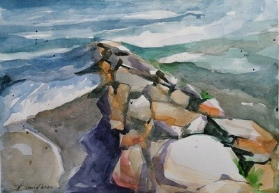 Ostseeküste, Original Aquarell Zeichnung 25x35cm