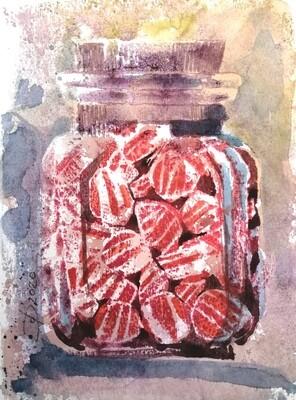 Bonbons 1 - Original Aquarell Zeichnung im Kleinformat