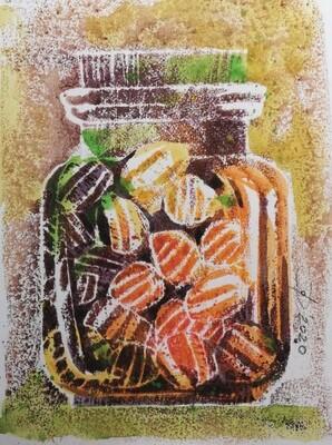 Bonbons 2 - Original Aquarell Zeichnung im Kleinformat