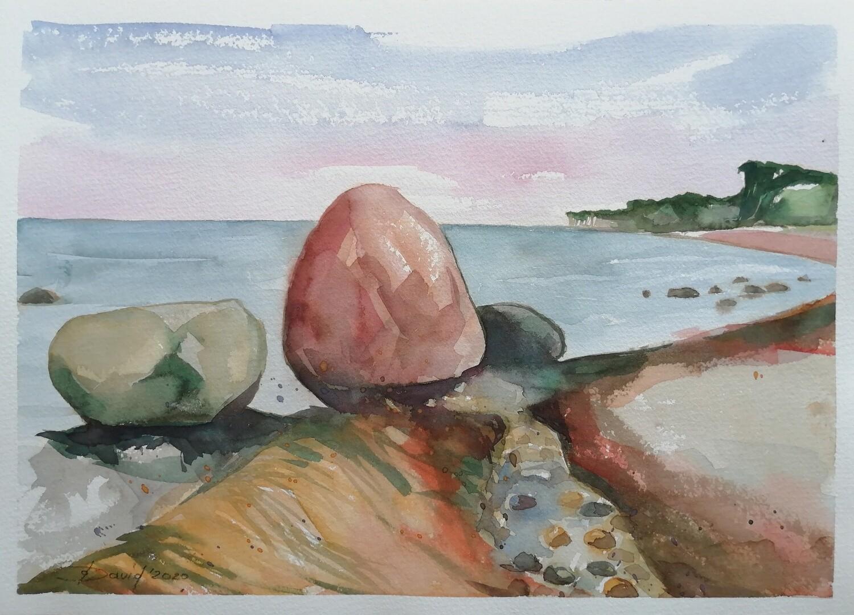 Steine der Ostseeküste, Original Aquarell Zeichnung 26x36cm