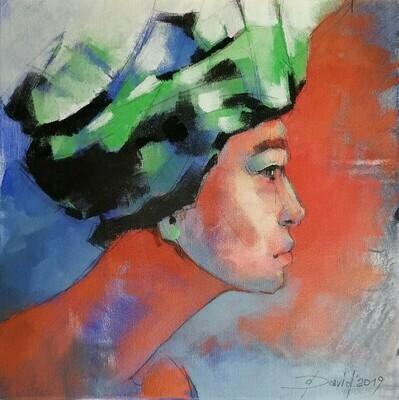 Florentine Turban, Original Acryl Gemälde, 40x40cm