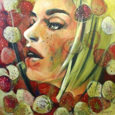 Sweet Fleckles, Original Acryl Gemälde, 60x60cm mit Echtholz-Bilderrahmen