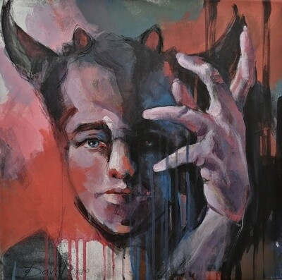 Little Devil, Original Acryl Gemälde, 40x40cm