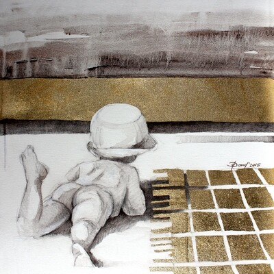 Am Badesee - Original Mixedmedia Gemälde, mit Alurahmen