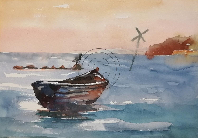 Boote Ostsee, Original Aquarell Zeichnung 26x36cm