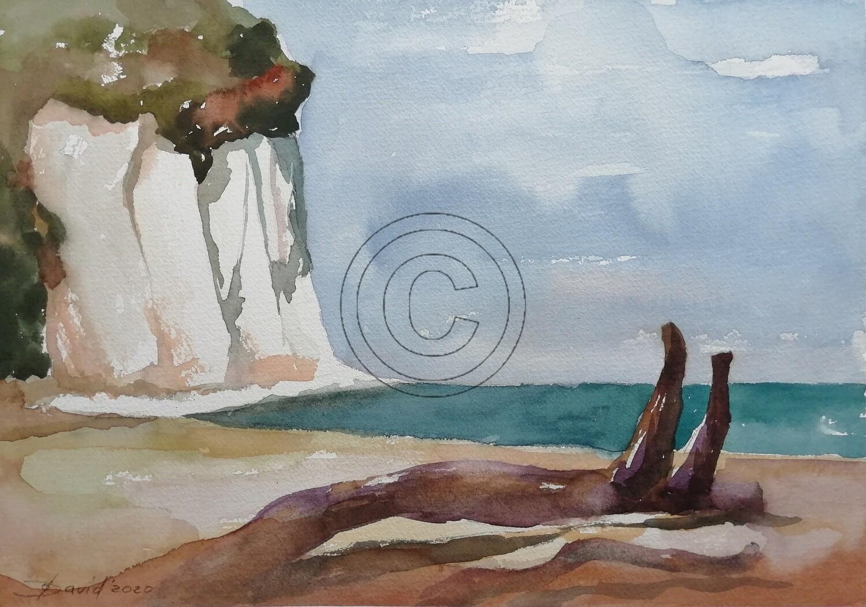 Kreidefelsen der Ostseeküste, Original Aquarell Zeichnung 26x36cm