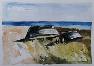 Fischerboote, Original Aquarell Zeichnung 26x36cm
