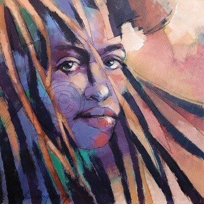 Dreads, Original Acryl Gemälde, 40x40cm