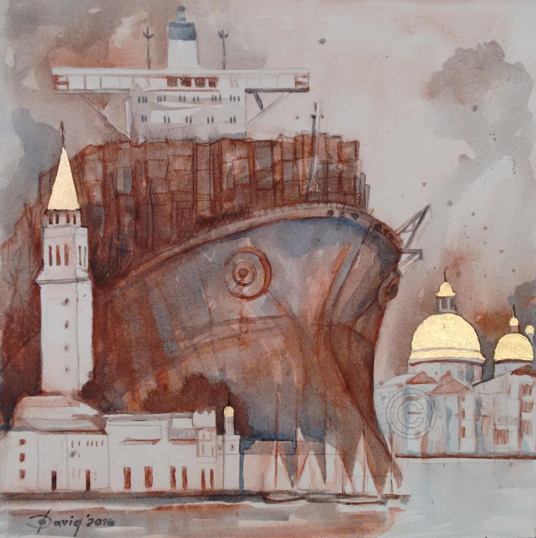 Herrscher I - Original Mixedmedia Gemälde, mit Alurahmen