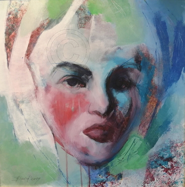 Rosen Duft, Original Acryl Gemälde, 60x60cm mit Echtholz-Bilderrahmen