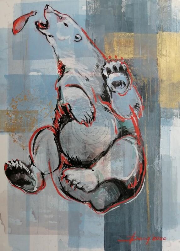 Bärenlied - Original Mixed-Media Zeichnung auf Papier