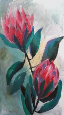 Protea - Afrikanische Rose, Original Acryl Gemälde, 80x140cm Großformat