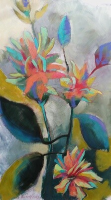 Viridiflora - Chinesische Rose, Original Acryl Gemälde, 80x140cm Großformat