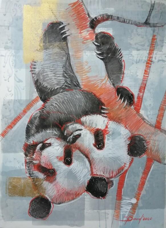 Pandas - Original Mixed-Media Zeichnung auf Papier