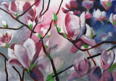 Magnolien, Original Acryl Gemälde, 200x140cm Großformat