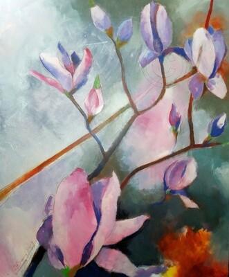 Magnolien - I, Original Acryl Gemälde, 100x140cm