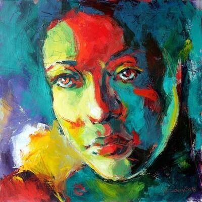 Flora, Original Acryl Gemälde, 40x40cm