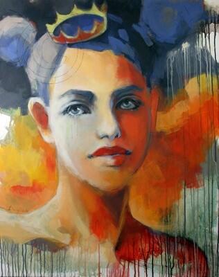I'm Princess, Original Acryl Gemälde, 80x100cm auf Leinwand