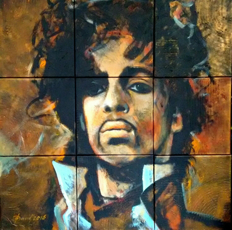 Prince, Original Acryl Mixedmedia Gemälde, Segmentmalerei, 90x90cm inklusiv Bilderrahmen