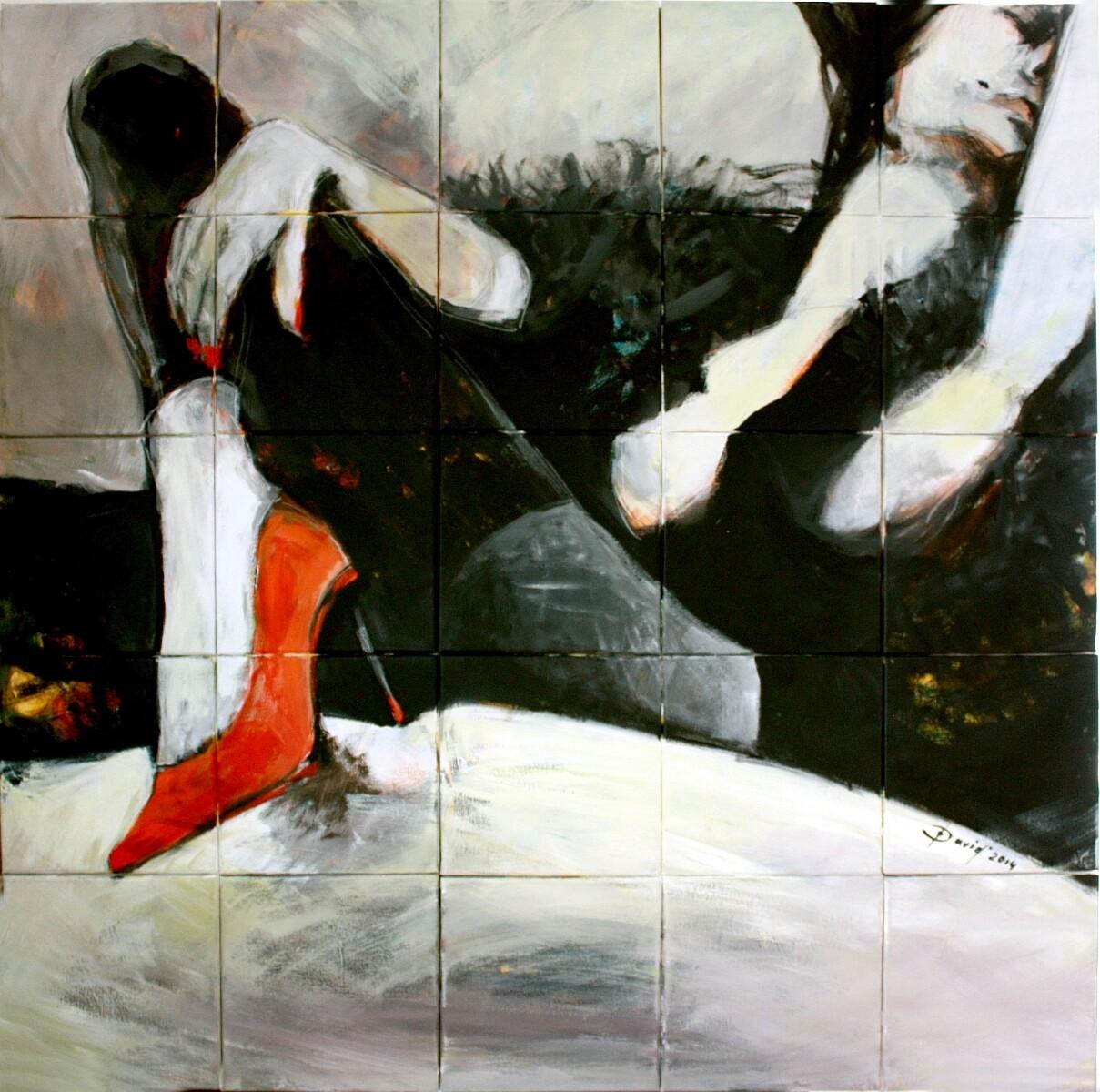 Ladies Zeug, Original Acryl Gemälde, Segmentmalerei, 100x100cm Großformat, gerahmt