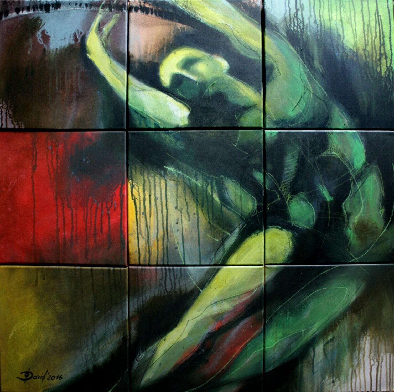 Radschlag, Original Acryl Mixedmedia Gemälde, Segmentmalerei, 90x90cm inklusiv Bilderrahmen