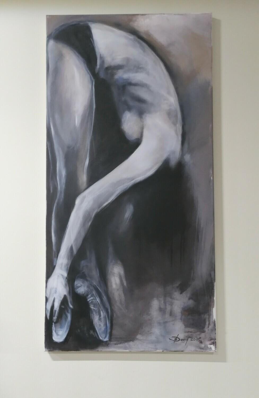 Black Swan, Original Acryl Gemälde, 60x120cm Großformat