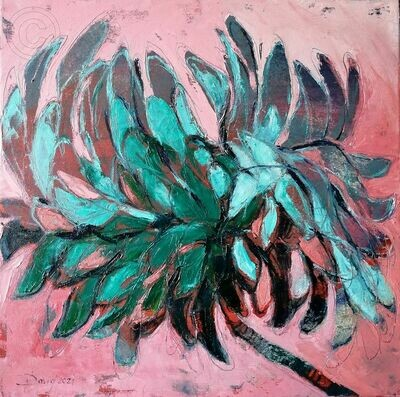 Green power on rosa, Original Öl Gemälde, 40x40cm