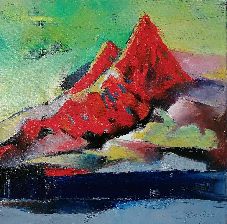 Red mountain, Original Öl Gemälde, 40x40cm
