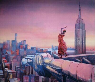 Über den Dächern von New-York - Original  im Großformat, Statement Gemälde