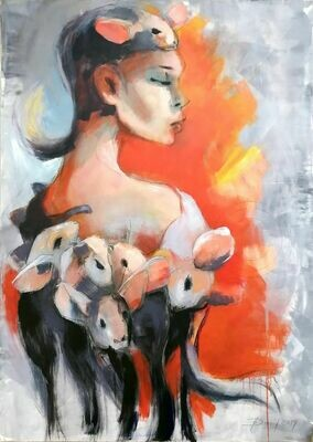 Priceless Cloak - Statement Gemälde Großformat 100x140 cm