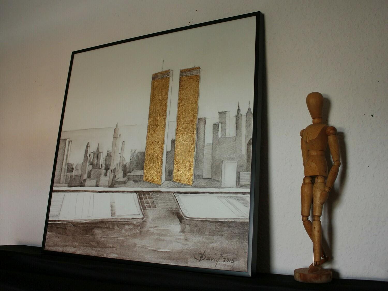 New York - Original Mixedmedia Gemälde, mit Alurahmen