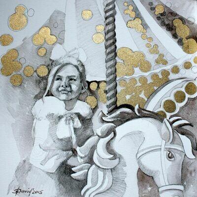 Karussell - Original Mixedmedia Gemälde, mit Alurahmen