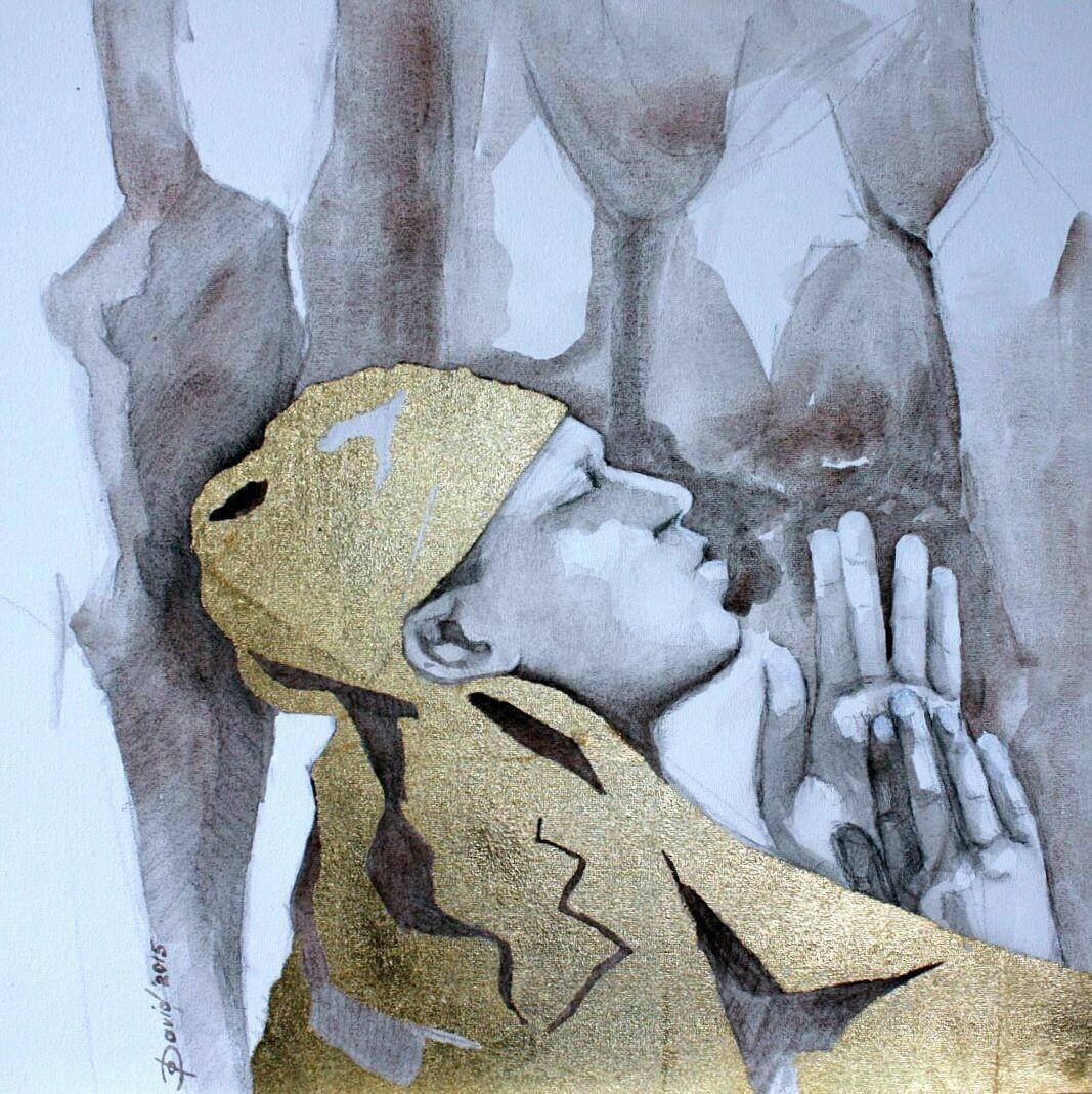 Gebet - Original Mixedmedia Gemälde, mit Alurahmen