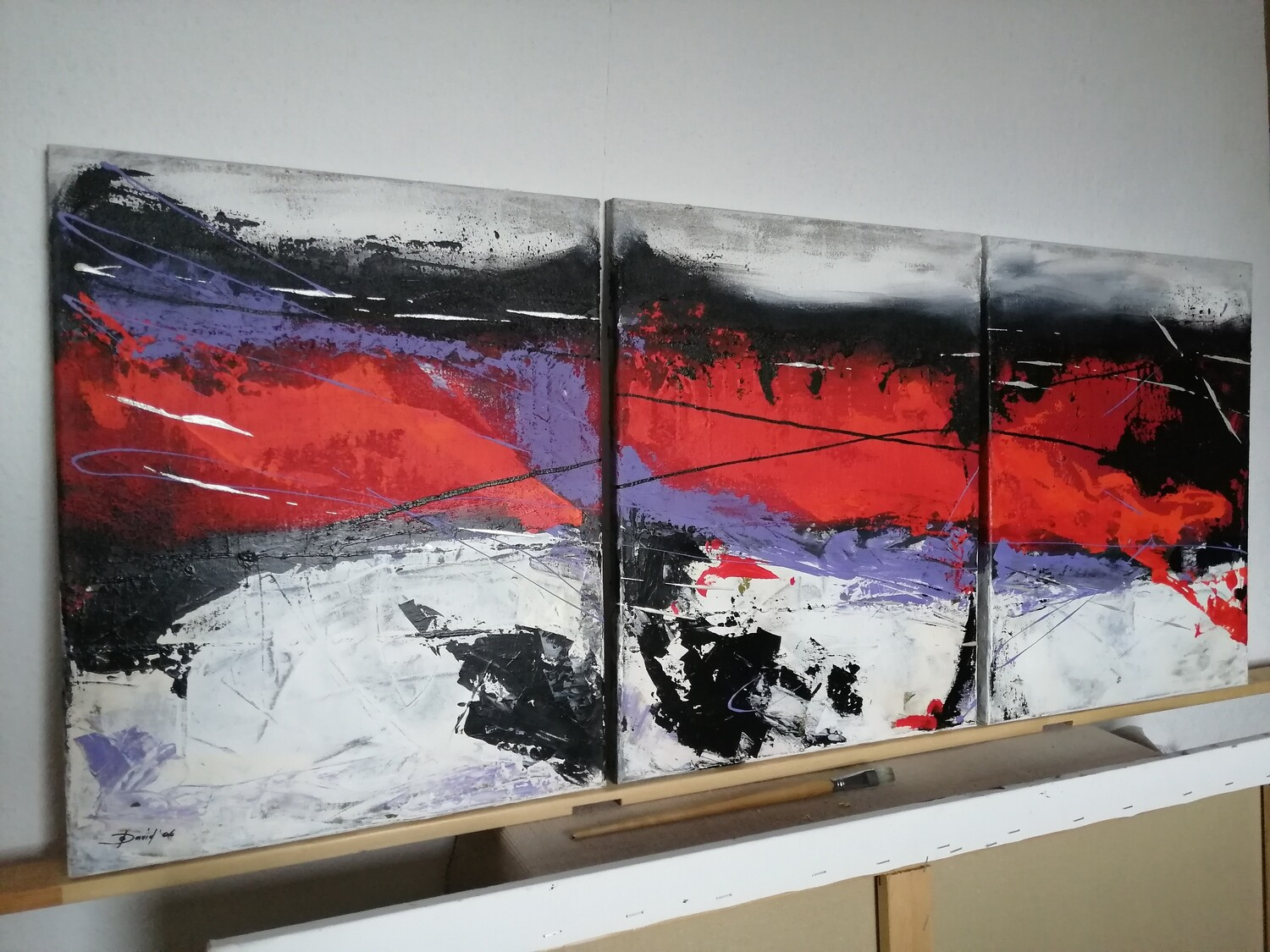 Purple River, Original abstraktes Acryl Gemälde, 120x50cm, 3-teilig