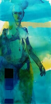 Beryll Dame - figuratives Akt Gemälde Großformat 70x140 cm