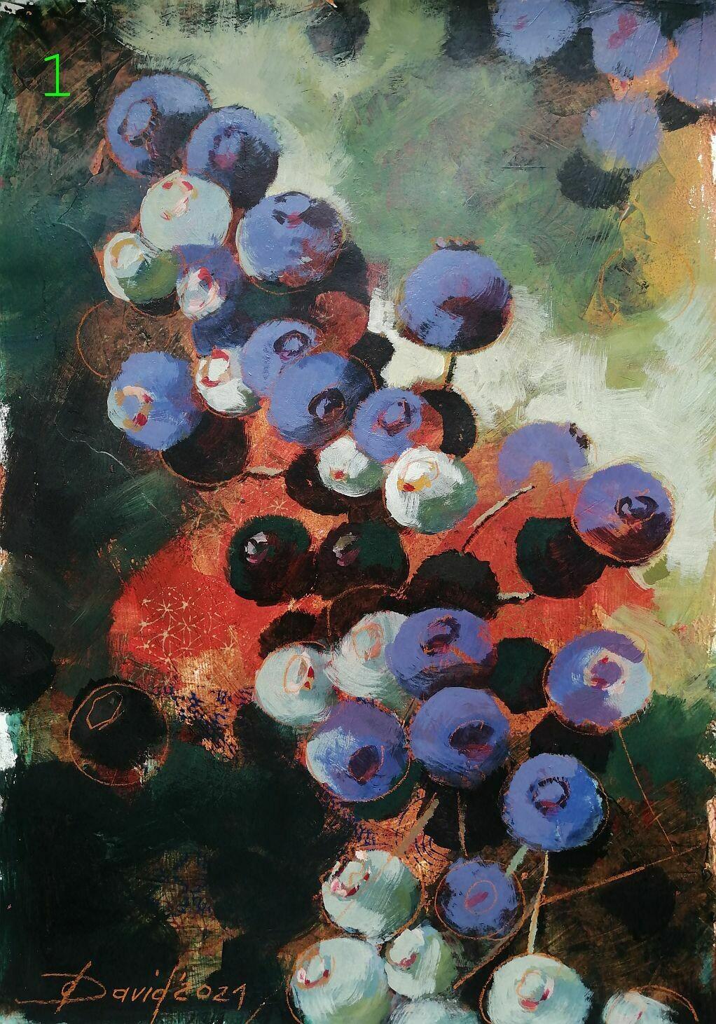 Florales, Original Acryl / Öl Bilder auf Papier, Kleinformat 30x40 cm