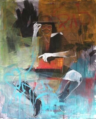 Street Shooting, Original Acryl Gemälde, 90x110cm auf Leinwand