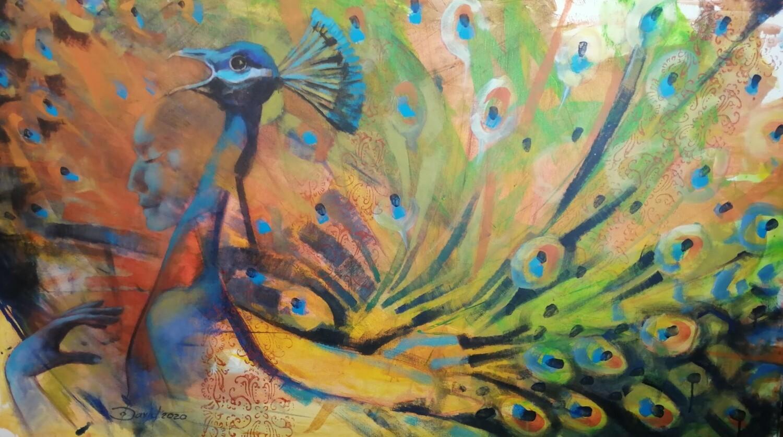 Female Peacock Fantasies - Statement Gemälde 140x80 cm Großformat