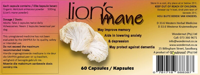 New and upcoming products: Lion's mane 60 capsules