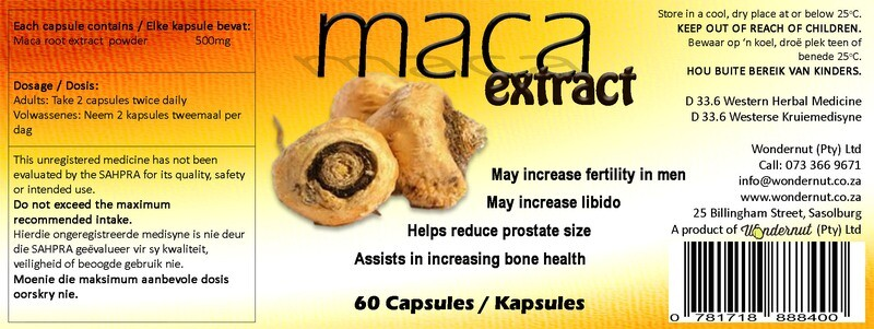 New and upcoming products: Maca 60 capsules