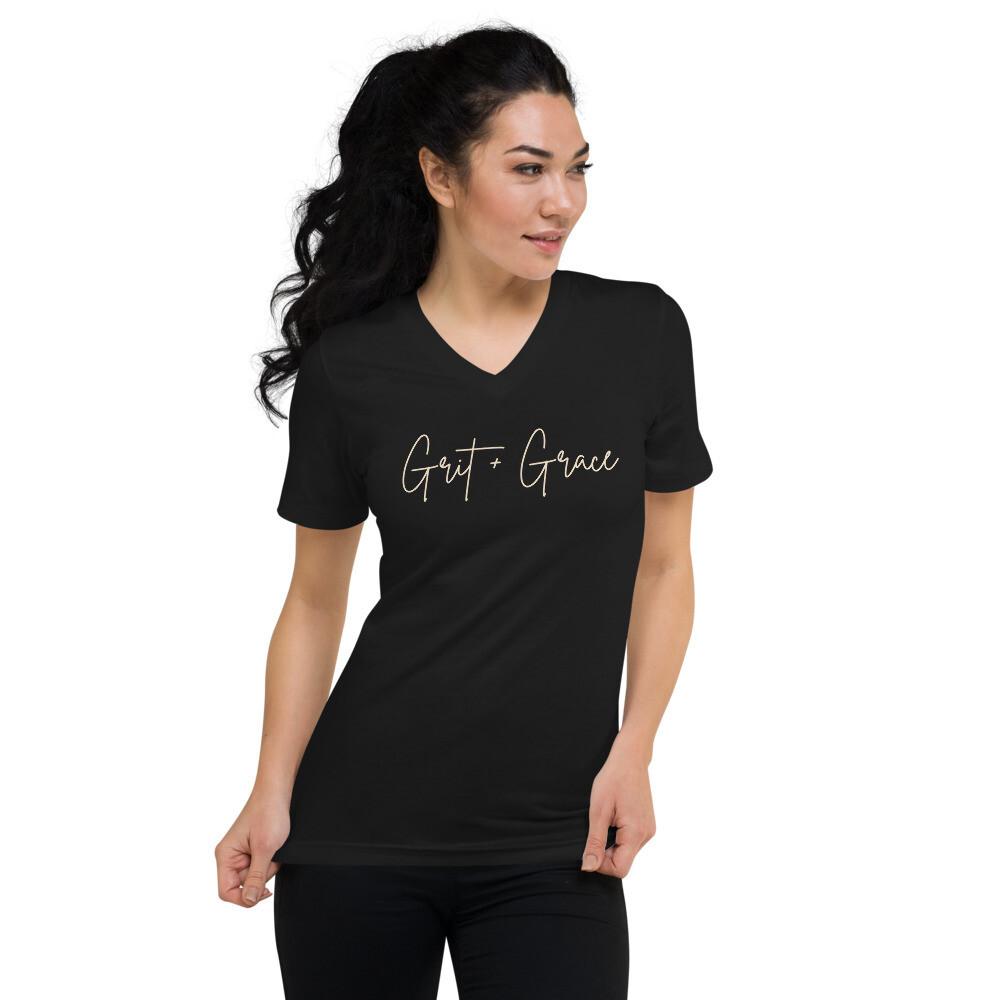 Grit + Grace Unisex Short Sleeve V-Neck T-Shirt